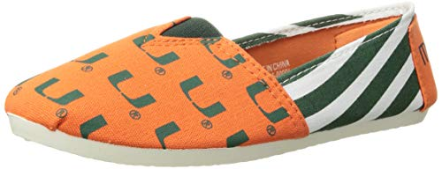 Forever Collectibles NCAA Miami Hurricanes Women's Canvas Stripe Shoes, Large (9-10), Green