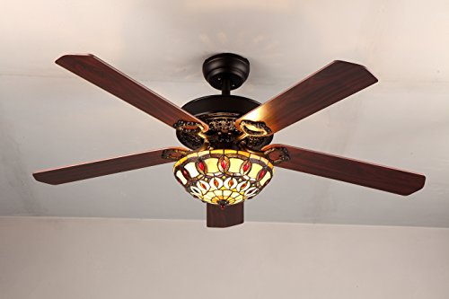RainierLight Antique Decorative Ceiling Fans Led Light with 5 Wood Leaves for Living Room/Bedroom/Dinning Room Remote Control Mute Fan (52-Inch) by RainierLight (Image #3)
