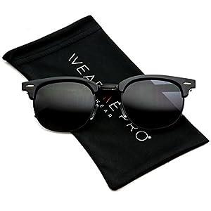 Polarized Clubmaster Classic Half Frame Semi-Rimless Rimmed Sunglasses (Full Black, 47)