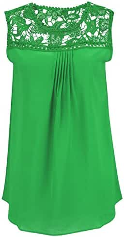 Carprinass Women's Sleeveless Hollow Out Chiffon Plus Size Lace Crochet Top Shirt