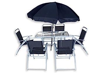 Ensemble Table de Jardin avec 6 chaises en Fer Blanc et Parasol Bleu ...