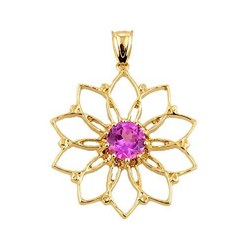 10 ct 471/1000 Lotus-Fleur- En Or Jaune Avec Rose Oxyde de Zirconium Pendentif
