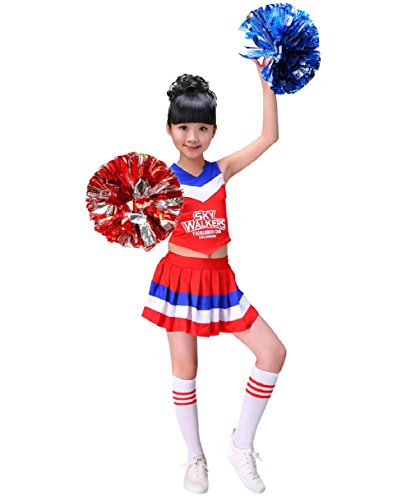 Cheerleader Costume Child Cheer Costume Outfit Carnival Party Halloween Cosplay with Match Pom poms for Sports Girls Boys (120cm, Red) -