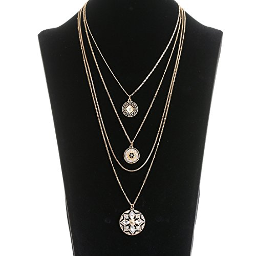 ELEARD Crystal Flower Pedant Necklace Multilayer Chain Necklace (Multi Strand Waterfall Necklace)