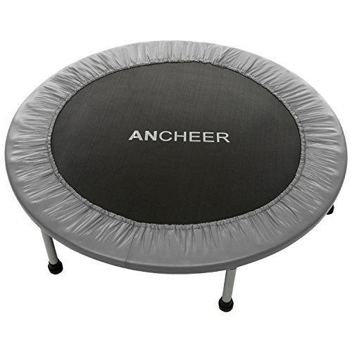 ANCHEER Max Load 220lbs Rebounder Trampoline with Safety Pad for Indoor Garden Workout Cardio Training (2 Sizes: 38 inch/40 inch, Two Modes: Folding/Not Folding) (Red, 40inch - Folding one time)