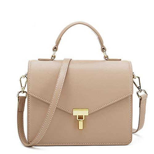 De Simple Bolso Retro Bag Messenger Color Color Cuadrado Sólido Cuero Lock color Apricot Hombro Haxibkena Mujeres wTgq8TS