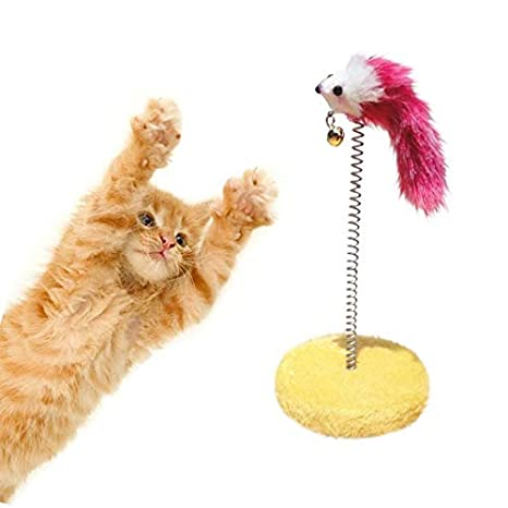 Amazon.com : Best Quality Cute cat Scratch Board Mouse Ball Toy Plate cat Sticks Toys pet Frame Spring Bells Scratching pad Posts Flying disc Color Random ...