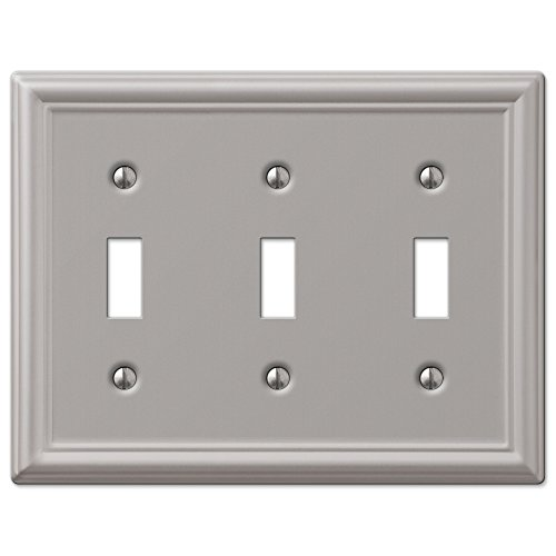 Triple Toggle Wall Switch Plate Cover - Brushed Nickel