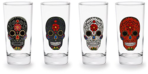 Circleware Sugar Skull Drinking Glasses with