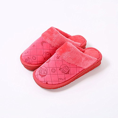 Cotone habuji pantofole inverno uomini home scivoloso interno caldo inverno Babbo Natale cartoon pantofole, 36/37, Big Red