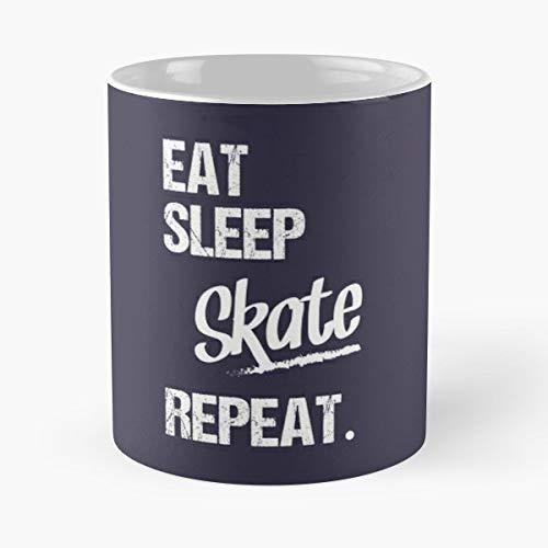 Sleep Eat Skate Best Gift Mugs Skater Skateboard Longboard Halfpipe Freestyle Snowboard Boarders Street Surfer Best Gifts for Friends ()