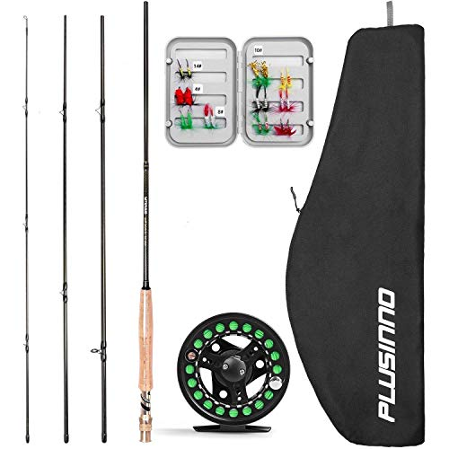 PLUSINNO Fly Fishing Rod and Reel Combo, 4 Piece Lightweight Ultra-Portable Graphite Fly Rod 5 6 9 Complete Starter Package with Carrier Bag