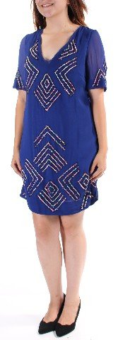 French Connection Womens New 2440 Navy Tribal Beaded Frayed Shift Dress 6 B+B (French Connection Beaded Dress)