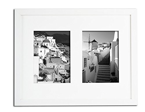 Golden State Art 11x14 White Wood Frame with White Mat - Displays Two 5x7 Photos - Real Glass, Sawtooth Hangers, Flexible Metals Tabs, Wall Mounting, Landscape, Portrait ()