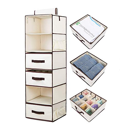 - StorageWorks Hanging Closet Organizer, Foldable Closet Hanging Shelves with 2 Drawers & 1 Underwear Drawer, Polyester Canvas, Natural, 6-Shelf, 13.6x12.2x42.5 inches