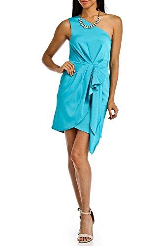 BCBG Generation Stacey Ruffled One Shoulder Dress in Atlantis (2)