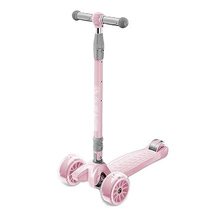 Patinetes Deportiva de Color Rosa Plegable para niños de 2 a 6 años, Scooter Infantil