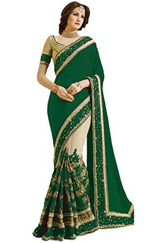 Nivah Fashion Women's Satin & Net Half & Half Embroidery work With Real Diamond's Material Saree (Green)