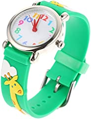 UKCOCO Kids Watches 3D Cute Cartoon Toddler Wrist Watch Giraffe Pattern Children Wrist Watch for 3-10 Years Ol
