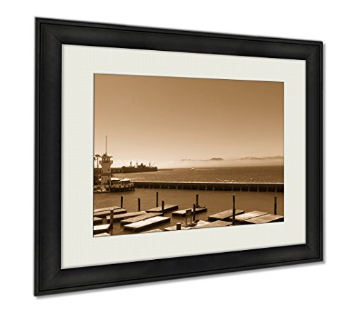 Ashley Framed Prints Lighthouse On Pier 39 In San Francisco California, Wall Art Home Decoration, Sepia, 30x35 (frame size), - In Pier California Francisco San 39
