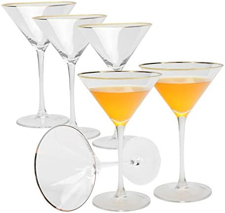 AILELAN Golden Edge Martini Glasses, Perfect Cocktail/Desserts Glasses with Stem, 8-Ounce, Set of 6