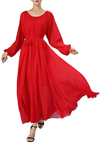 Buenos Ninos Women's Long Sleeve Crew Neck Loose Chiffon Long Maxi Dress with Belt Red M