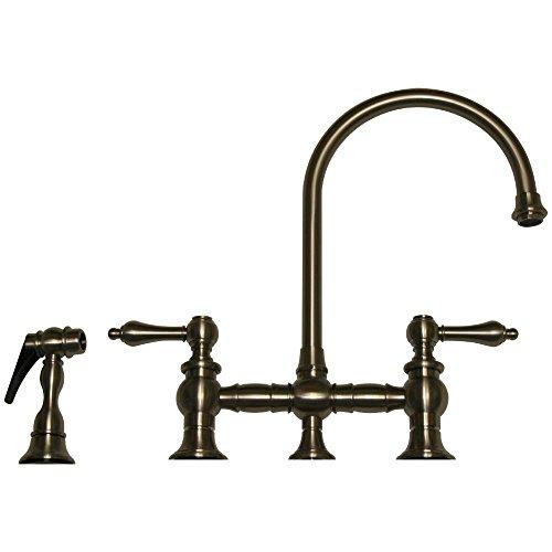 Gooseneck Spout Bridge Faucet (Whitehaus WHKBLV3-9101-BN Vintage III Kitchen Bridge Faucet with Long Gooseneck Swivel Spout, Lever Handles, and Matching Side Spray, Brushed Nickel)