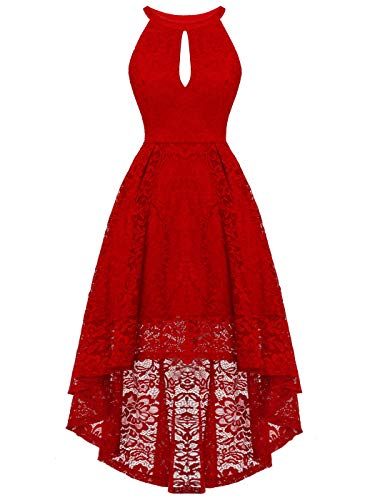 FAIRY COUPLE Women's Halter Hi-Lo Floral Lace Cocktail Party Bridesmaid Dress DL022B(L,B Red) (Red Dresses For Bridesmaid)