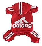 Scheppend Adidog Pet Clothes for Dog Cat Puppy Hoodies Coat Winter Sweatshirt Warm Sweater Dog Outfits, Red Medium