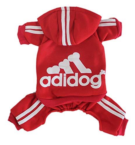 Scheppend Original Adidog Pet Clothes for Dog Cat Puppy Hoodies Coat Doggie Winter Sweatshirt Warm Sweater Dog Outfits, Red Medium ()