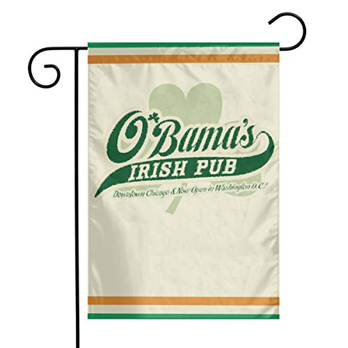 TTIWEP Obamas Irish Pub Customizable Garden Flag Indoor & Outdoor Decorative Flags for Parade Sports Game Family Party Wall Banner,12x18inch