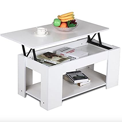 amazon com white modern lift up top tea coffee table with hidden