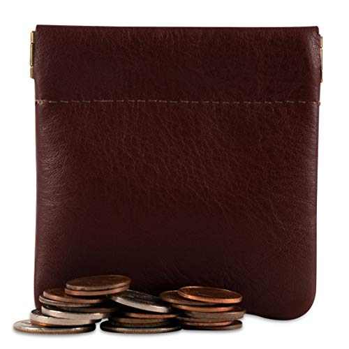 (Classic Leather Squeeze Coin Purse change Holder For Men, Pouch size 3.5 in X 3.25 in. high, Burgundy)
