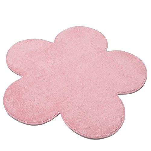 New Childrens Kids Bedroom Playroom Flower Shape Carpet Rug - Light Pink Kids World