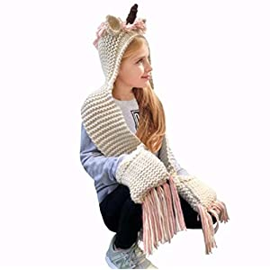 D-Fokes Kids Winter Cartoon Unicorn Hat with Scarf Hooded Knitted Beanie Cosplay Photography Prop