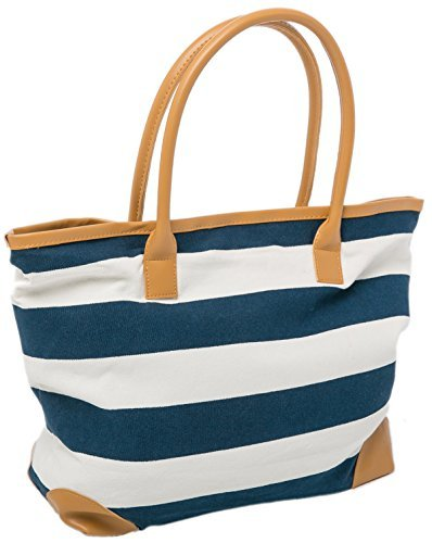 Tote Bag Canvas Beach Bag Striped Summer Nautical Shopper for Ladies size 18