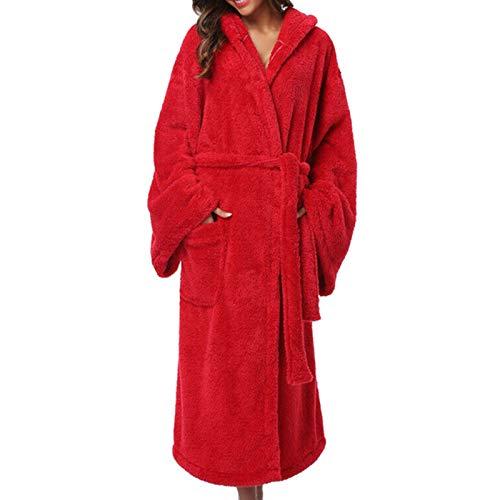 DANNIY Dressing Gown Mesdames Robe Super Douce avec Fourrure Doublée À Capuche en Peluche Peignoir pour Les Femmes