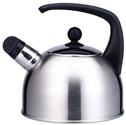 ELO 53918 Apollo Black Stainless Steel Tea Kettle with Whistle, 2.2-Quart