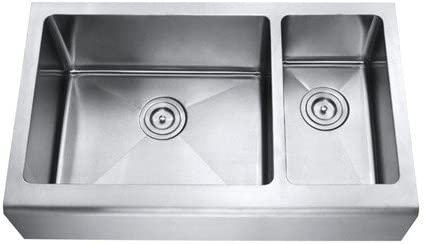 Chef Series 33 Inch Stainless Steel Premium 16 Gauge Smooth Flat Front Farm Apron Kitchen Sink 70 30 Double Bowl 15mm Radius Design with Free Accessories