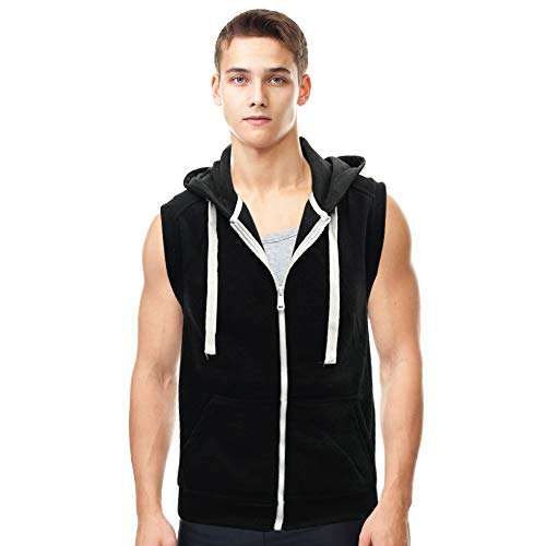 - Lada Men's Hooded Vest Sleeveless Lightweight Zip-up Gym Workout Tank Tops (Black, Medium)