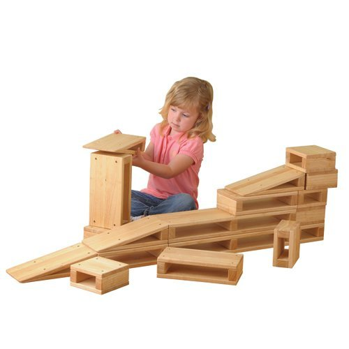 Constructive Playthings MTC-81 Junior Hollow Blocks Set of 18 with Largest Block Being 22