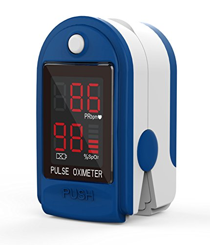 ClinicalGuard® CMS-50DL Pulse Oximeter Blood Oxygen SpO2 Sports and Aviation Monitor w/Soft Case Combo Pack, Landyard