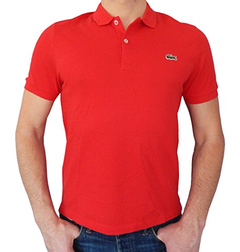 Lacoste Mens Ultraslim Fit Mesh Solid Polo T-shirt (Large/Eur6, Red)