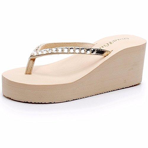 taladro tacón de de zapatillas de tacón agua frío parte LiUXINDA de XZZ para gruesa beige Zapatillas mujer zapatillas alto inferior nqCnzPxgOw