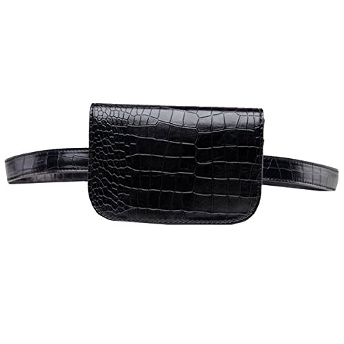 YAOSEN Women Crocodile Pattern Waist Bag Solid Color Fanny Pack with Removable Belt (Medium) (Solid Crocodile Pattern)