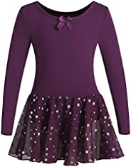 DANSHOW Girls Ballet Leotard Kids Long Sleeve Dance Leotard Dress with Glitter Tutu Skirt