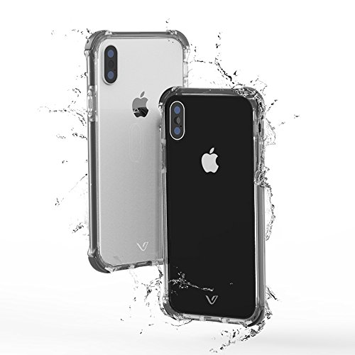 iPhone X Shockproof Case, iPhone X Protective Case, JULES.V Anti-Scratch Hybrid Case with Air Cushions Impact Resistant Shock Absorption Cover for Apple iPhone X Case Clear, 5.8 Inch (Gray)