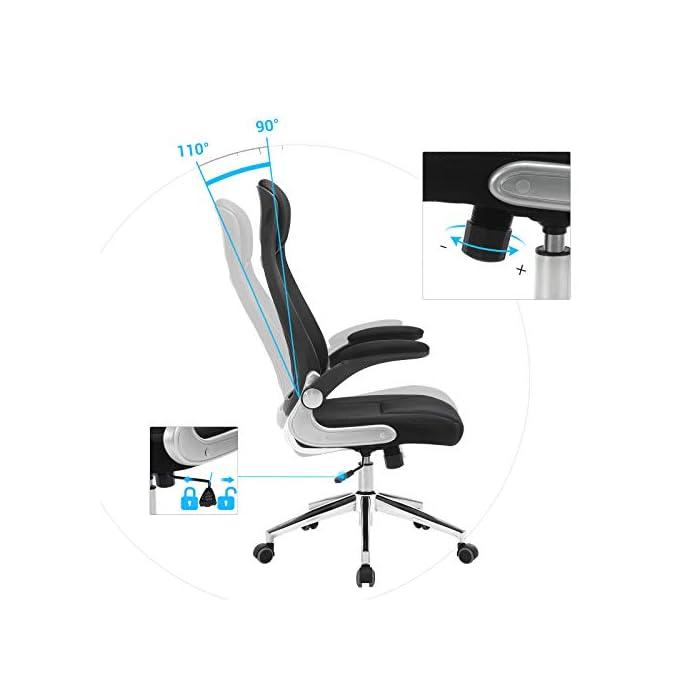 41OOUr X92L Cómodo para sentarse - Asiento grande (51 cm de ancho, 50 cm de profundo) con relleno de esponja de alta densidad permite que no se deforma con facilidad; el respaldo de malla (71 cm de alto) con diseño ergonómico es transpirable, y el soporte lumbar puede aliviar tensiones de la vértebra Regulable - Los apoyabrazos (la altura entre los apoyabrazos y el asiento es de 22 cm) quedan muy bien con los brazos, es favorable para relajar los brazaos, y los apoyabrazos plegables le facilitan colocar la silla debajo de su escritorio; gracias al mecanismo de ajuste, son regulables la la altura del asiento (45-55 cm) y la inclinación, lo que le ayuda a relajarse (es adecuada para las personas que miden dentro de 175 cm) Estable y gran capacidad - Gracias a 5 puntos de apoyo ( Ø 66 cm) del pie de estrella, por eso, la silla tiene una gran estabilidad; resorte de gas (TÜV Rheinland: DIN4550 CLASS3, encargado de examinar: proveedor); los apoyabrazos están galvanizados; la silla giratoria puede soportar el peso de hasta 150 kg