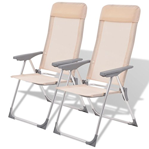 Festnight Outdoor Patio Folding Camping Dining Chairs Set of 2, Aluminum by Festnight