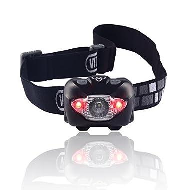 Vitchelo V800 Headlamp Flashlight with Red LED, Black